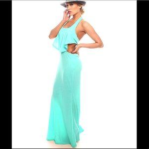 Dresses & Skirts - Mint Halter Open Back Maxi Dress